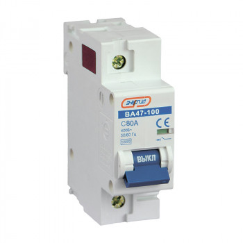 Автоматический выключатель ВА47-100 1P 80А (С) 10кА