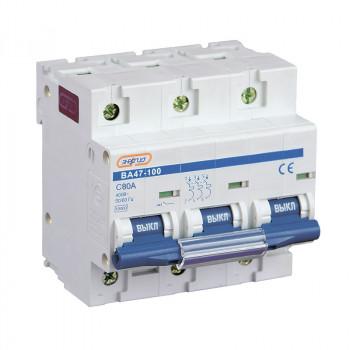 Автоматический выключатель ВА47-100 3P 80А (С) 10кА