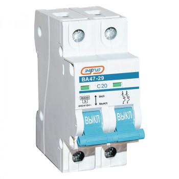Автоматический выключатель ВА47-29 2P 20А (С) 6кА