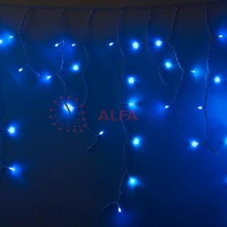 Гирлянда Айсикл (бахрома) светодиодный, 2,4 х 0,6 м, прозрачный провод, 230 В, диоды синие, 88 LED