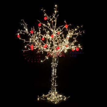 """Светодиодное дерево """"Яблоня"""", высота 1,2м, 8 красных яблок, ТЕПЛЫЙ БЕЛЫЙ светодиоды, IP 54"""